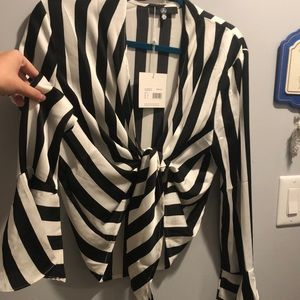 Misguided Fluted Sleeve Stripe knot shirt